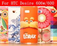 19 Species pattern transparent side cover case for HTC Desire 606w case HTC Desire 600 case cover