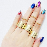 Sheegior 2014 New Fashion Personality Design 6 psc Smooth women simple metal women ring set wholesale Free shipping !