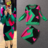 2013 fashion geometric patterns graphic color block casual top slim hip bust skirt set