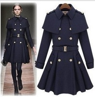 2014 Spring new arrival british style female skirt cape slim double breasted cloak wool trench coat outerwear,fashion jacket