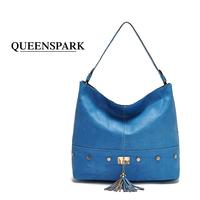 FREE SHIPPING Fashion vintage tassel women's handbag shoulder bags vintage rivet bag female bags female women leather handbags
