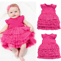 2014 New Retail Baby Girls Lace Dress children's clothing tutu dress cake  baby kids summer  good quality dresses rose
