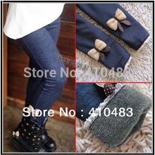 rk0002 de envío gratis elástico cintura legging para las niñas pantalones vaqueros niños algodón cachemira niños pantalones calientes al por menor(China (Mainland))