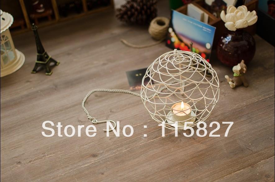 Free Shipping!Round Ball New design Candle Holder White Metal Lantern New Iron Candle Holder Christmas Gift(China (Mainland))