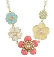 Free shipping Romantic enamel flower pearls beaded choker necklace for women AN014