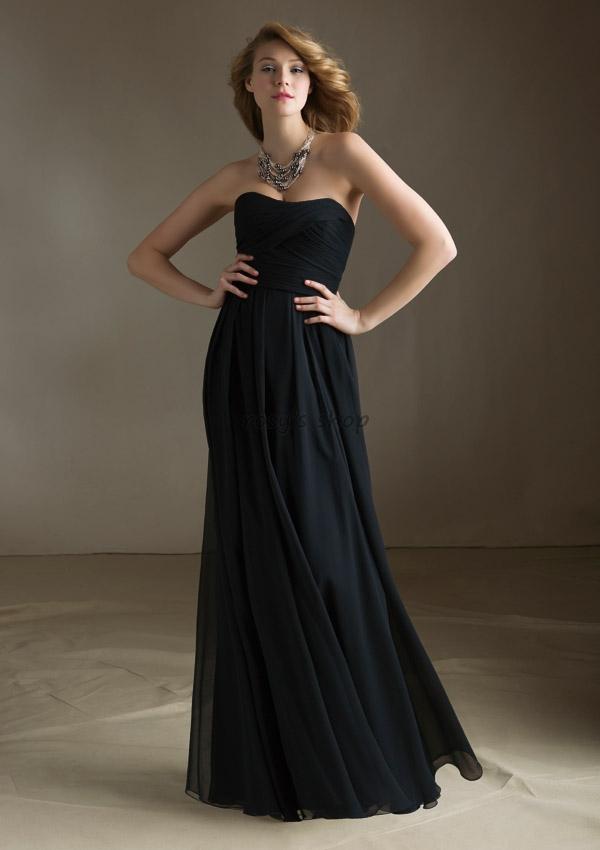 Strapless Black Bridesmaid Dress - Ocodea.com