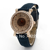 2014 Special Design Fashion Latest Popular Sparkling Rhinestone Simple And Elegant Style Leather Quartz Watches Women