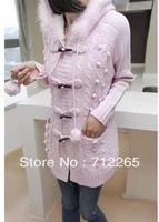 Free Shipping Add Wool Twist Leisure Female Loose Long Hooded Sweater Pink Beige Dark grey Khaki Light grey