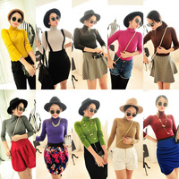 Free Shipping Winter women's all-match slim long-sleeve turtleneck t-shirt basic shirt
