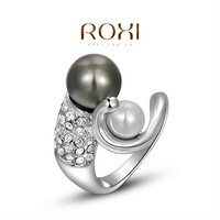 ROXI Christmas Delicate Zircon Earrings Gift Girlfriend Man-made Fashion Platinum Plated Pearl Ring Anniversary