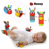 Free shipping children baby plush stuffed animal colors 14cm soft sock foot finder and wrist rattles toy rattles 4pcs/set 002
