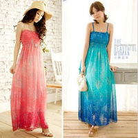 New Brand 2014 Bohemia Gradient Color Chiffon Spaghetti Strapless Print One-piece Dress