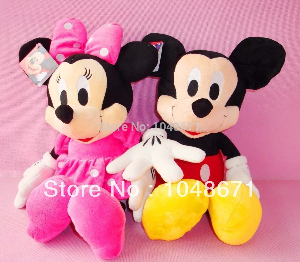 2 LARGE 46CM CUTE MICKEY & MINNIE MOUSE PLUSH DOLL KIDS BABY SOFT TOY(China (Mainland))