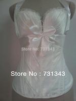 satin Ivory corset over bustier padding bra plastic boned shoulder straps Size M A1388