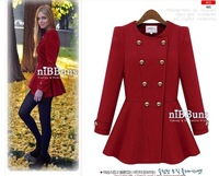 Fashion star style o-neck double breasted woolen outerwear elegant skirt overcoat trench
