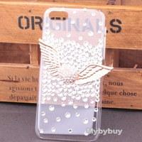 Luxury 3D Angel Wing Diamond Rhinestone Case For iPhone 6 6 Plus, Bling Case For iPhone 5 5S 5C, For iPhone 4 4S Diamond Case.