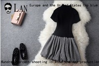 Free shipping Vintage dress new fashion 2013 Women's knitted sweater short-sleeve top patchwork bust skirt one-piece dress T944