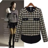 Women's autumn and winter fashion 2013 fashion chiffon grid cloth o-neck long-sleeve basic shirt 9122