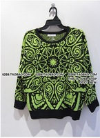 A53 spring women's green orange o-neck pullover neon color vintage pattern basic sweater