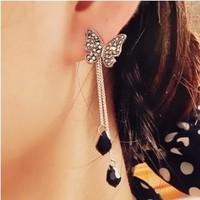 E530  Wholesales Vintage Long Black Crystal Butterfly Pendant Tassel Earrings Jewelry Accessories