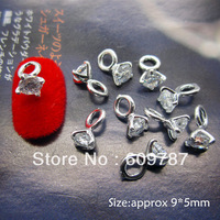Free shipping  3D 30pcs/bag Nail Decoration Ring Metal Shinny Rhinestone Metal Nail Art Decoration