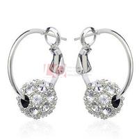 LQ Fashion Jewelry Hoop Earrings Swiss Diamond Lucky Beads 18K Gold Plated Austrian Crystal Earrings for Women Best Holiday Gift