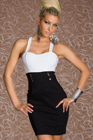 2014 new shoulder strap sexy fashion slim black and white mosaic dress bare waist sleeveless dresses free shipping