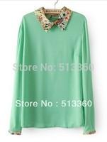 New Fashion Ladies' floral collar chiffon blouses elegant long sleeve stylish Shirt casual slim brand designer tops