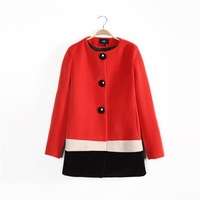 Hot-selling ! 2013 winter fashion ladies woolen color block o-neck trench patchwork woolen overcoat outerwear
