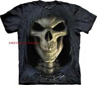 Free shipping men and women mountain cloak skull 100% short-sleeve cotton shirt male basic o-neck t-shirt 3D t shirt made in USA