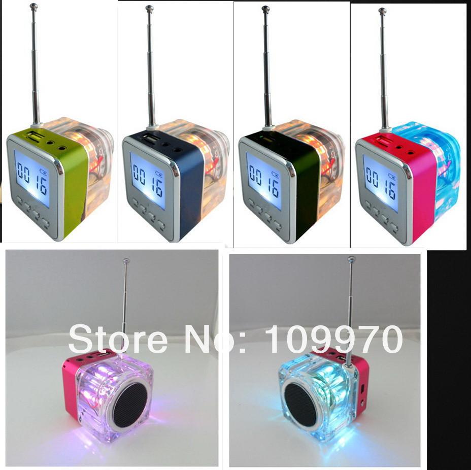 colorful crystal Portable speaker Micro SD/TF Mini Speaker MP3/4 Player USB Disk FM Radio Digital speaker 100pcs via dhl/fedex(China (Mainland))