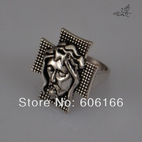 NEW 36pcs/lot The Suffering Jesus Cross Ring Zinc Alloy Rings Fashion Catholic Christian Religious Jewelry Wholesale Mix Size