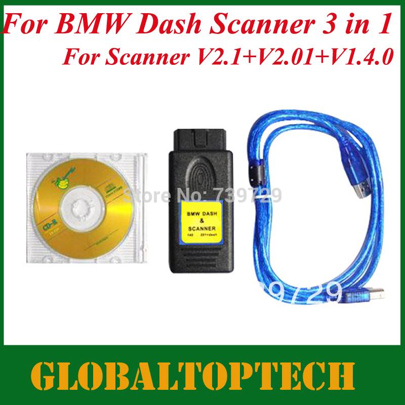 DHL Free! 2014 New Arrivals A+ Quality Auto Dash Scanner 3 in 1 Dash Scanner V2.1 + DASH V2.01 + SCANNER 1.40 Auto Dash Program(China (Mainland))