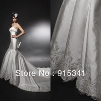 Hot Sale New Design Strapless Corset Satin with Appliques Long Train Bow Mermaid Bridal Dress Sexy Free Shipping