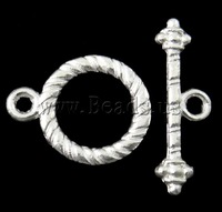 Free shipping!!!Zinc Alloy Toggle Clasp,Lucky, Donut, silver color plated, single-strand, nickel, lead & cadmium free