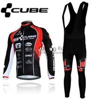 2013 NEW!!! CUBE #1 team Winter long sleeve cycling jerseys+bib pants bike bicycle thermal fleeced wear set+Plush fabric!