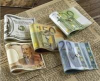 Creative Money Door Stopper Dollar / Japanese Yen / Euro Bill Money Doorstop 2pcs/lot
