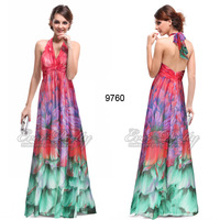 HE09760HP Ever Pretty Empire Line Floral Printed Chiffon Padded Sexy Long Evening Dress