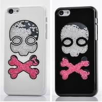 Wholesale Cute Skull Bling Swarovski Crystal White Pink Diamond Couple Hard Back Cases Cover For Apple iphone 5C Shell Skin 0291