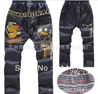 free shipping  2013 new winter plus velvet jeans trousers wholesale large child