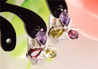 wholesale 3pairs sterling silver Cubic Zirconia enchanting beautiful FLOWERS hoop earrings