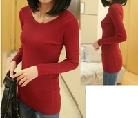 2013 Autumn Women Fashion Slim Brief Knitted Long Sleeves Knitting Pullovers Sweater 2 Color Red Black