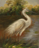 "Details about  Quality Oil Painting on Stretched Canvas 8""x10""- Egret"