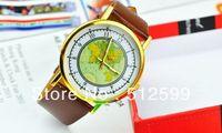 Brand New Fashion Unisex Vintage Women's Casual Antique World Global Map Men Quartz Wrist Watch, 4Colors Available