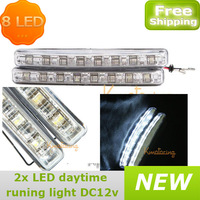2pcs/set 8 LED Universal Daytime Running Light Foglight Car led DRL Driving Lamp E4 Proved,car led fog lamp FREE SHIPPING