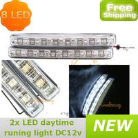 2pcs/set 8 LED Universal Daytime Running Light Foglight Car led DRL Driving Lamp E4 Proved,car led fog lamp FREE SHIPPING