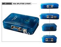 Wholesale 40psc/lot MT-3502A 350MHZ MINI 2 PORT VGA SPLITTER,Free Shipping By FedEx