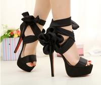 Free shipping fashion women's pumps summer black sexy flower platform high-heeled shoes 14cm thin heels sandals ladies
