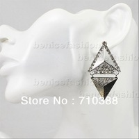 Unique Retro Jewelry Tibetan silver&gold triangle Rhinestone Dangle Earrings free shipment new arrival