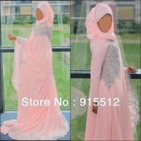 Arabic 2013 Hijab A Line Long Sleeve Appliques Chiffon Dubai Muslim Wedding Dress